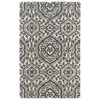 Hand-tufted Runway Charcoal/ Ivory Damask Wool Rug - 3' x 5'