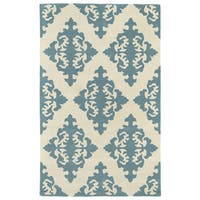Hand-tufted Runway Damask Mint/ Ivory Wool Rug (3' x 5')