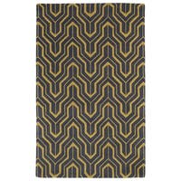 Hand-tufted Cosmopolitan Gold/ Charcoal Wool Rug - 5' x 7'9