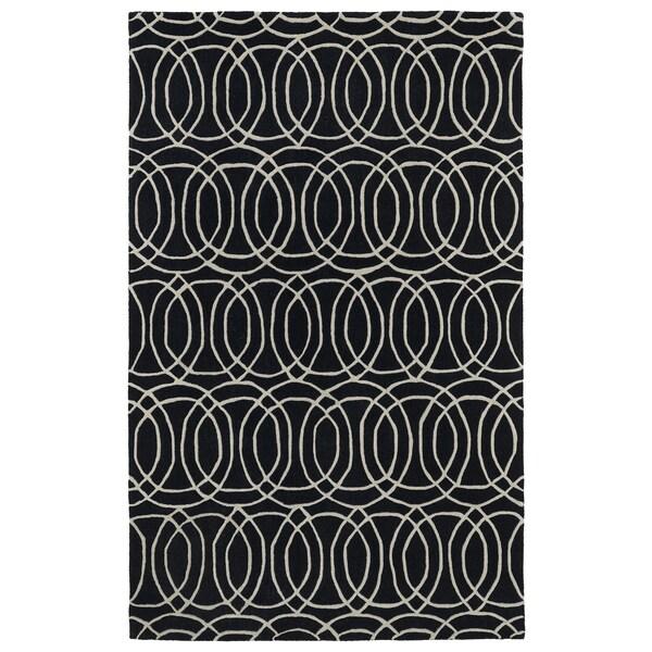 Hand-tufted Cosmopolitan Circles Black/ Ivory Wool Rug - 5' x 7'9