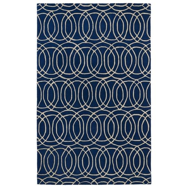 Hand-tufted Cosmopolitan Circles Navy/ Ivory Wool Rug - 5' x 7'9