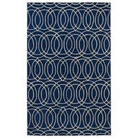 Hand-tufted Cosmopolitan Circles Navy/ Ivory Wool Rug - 5' x 7'9