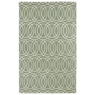 Hand-tufted Cosmopolitan Circles Mint/ Ivory Wool Rug (5' x 7'9)