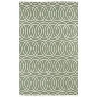 Hand-tufted Cosmopolitan Circles Mint/ Ivory Wool Rug - 5' x 7'9