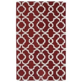 "Hand-tufted Cosmopolitan Trellis Red/ Ivory Wool Rug (5' x 7'9) - 5' x 7'9"""