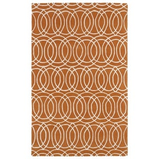 Hand-tufted Cosmopolitan Circles Orange/ Ivory Wool Rug (5' x 7'9) - 5' x 7'9""