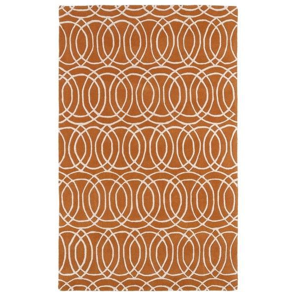 Hand-tufted Cosmopolitan Circles Orange/ Ivory Wool Rug - 5' x 7'9