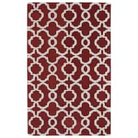 Hand-tufted Cosmopolitan Trellis Red/ Ivory Wool Rug - 3' x 5'