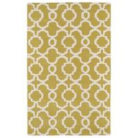 Hand-tufted Cosmopolitan Trellis Yellow/ Ivory Wool Rug - 3' x 5'