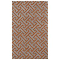 Hand-tufted Cosmopolitan Orange/ Grey Wool Rug - 3' x 5'