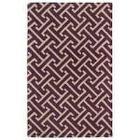 Hand-tufted Cosmopolitan Plum/ Beige Wool Rug - 3' x 5'