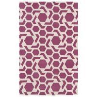 Hand-tufted Cosmopolitan Geo Pink/ Ivory Wool Rug - 3' x 5'