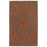 Hand-tufted Runway Ikat Orange/ Charcoal Wool Rug - 3' x 5'