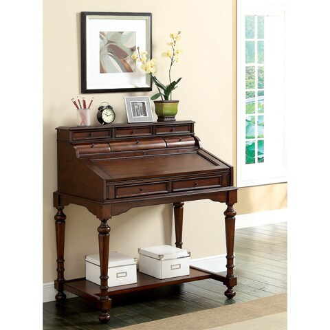 Furniture of America Cantrus Traditional Secretary Writing Desk with Leatherette Accent - Cherry