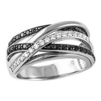 10k White Gold 1/2ct TDW Multi-row Crossover Black and White Diamond Ring