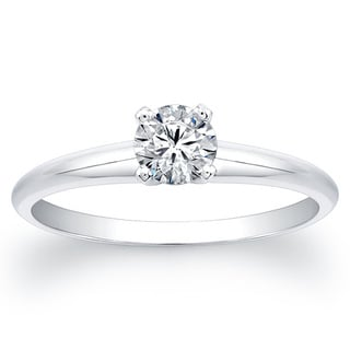 Victoria Kay 14k White Gold 3/4ct TDW Round Diamond Solitaire Ring
