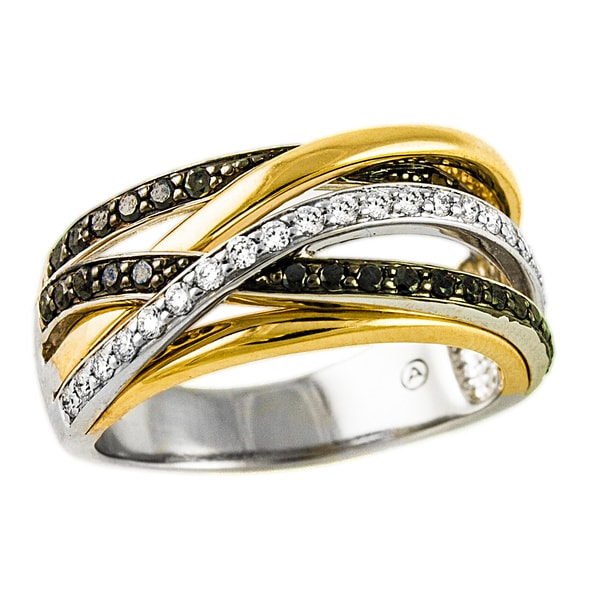 10k Two-tone Gold 1/2ct TDW Multi-Row Crossover Black and White Diamond Ring