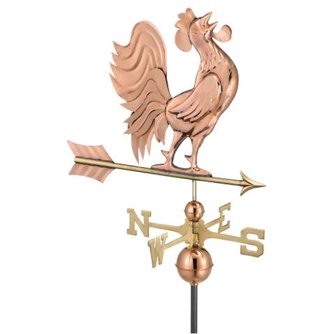 Crowing Rooster Pure Copper Weathervane by Good Directions