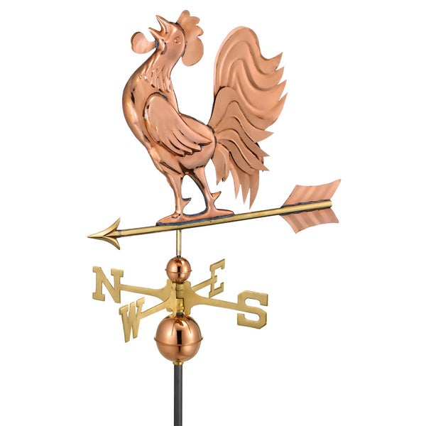 Polished Copper Crowing Rooster Weathervane