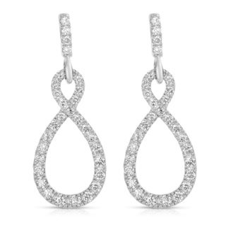 Eloquence 14k White Gold 1 1/2ct TDW Infinity Pave Diamond Earrings