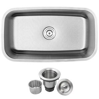 "31 1/2"" Ticor S112 Haven Series 16-Gauge Stainless Steel Undermount Single Basin Kitchen Sink"