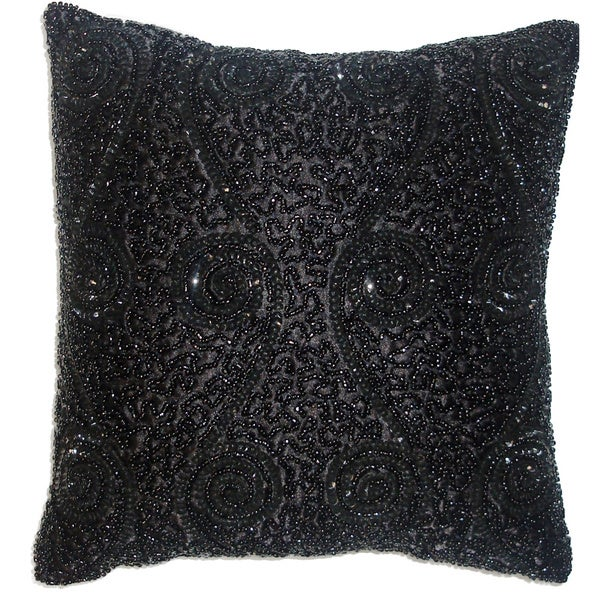 Black Beaded Throw Pillow : Celebration Swirl Black Beaded Decorative Pillows (Set of 2) - Free Shipping On Orders Over $45 ...