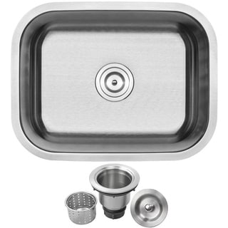 Ticor 23-inch 16-gauge SS Single Bowl Undermount Kitchen Sink with Accessories