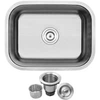 "23"" Ticor S505 Haven Series 16-Gauge Stainless Steel Undermount Single Basin Kitchen/Laundry Sink"