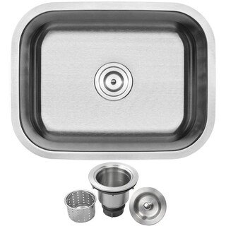 "23"" Ticor S505 Haven Series 16-Gauge Stainless Steel Undermount Single Basin Kitchen/Laundry Sink"