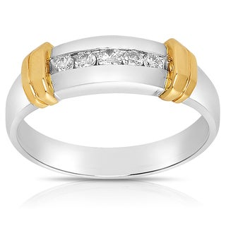 Eloquence 14k Two-tone Gold Men's 1/4ct TDW Diamond Wedding Band (J-K, I1-I2)