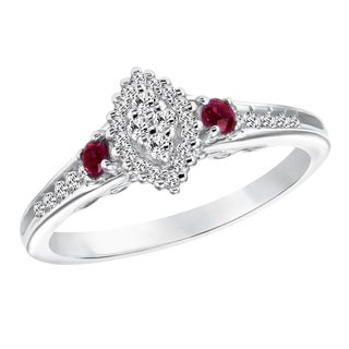 Cambridge Sterling Silver Marquise Diamond and Ruby Ring (I-J, I2-I3)