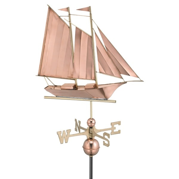 Schooner Pure Copper Weathervane by Good Directions