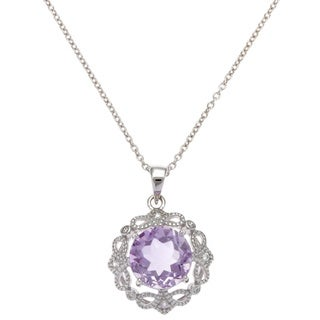 Sterling Silver Vintage Filigree Round Gemstone Cubic Zirconia Necklace