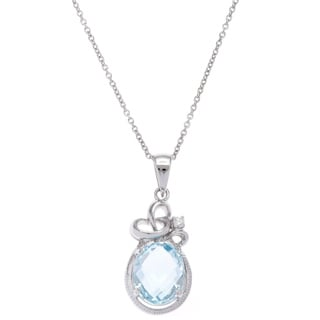 Sterling Silver Faceted Blue Topaz Cubic Zirconia Pendant