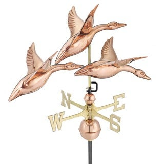 Three Geese in Flight 28-inch Pure Copper Weathervane by Good Directions
