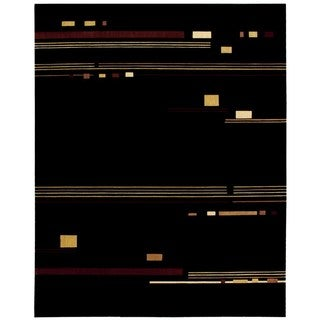 Nourison Parallels Black Abstract Rug (7'6 x 9'6)