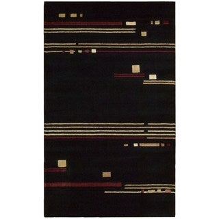 Nourison Parallels Black Abstract Rug (2'3 x 3'9)