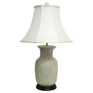 1-light Round Cream Crackle Porcelain Table Lamp