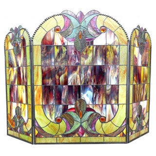 Chloe Tiffany Style Victorian Design 3-panel Fireplace Screen