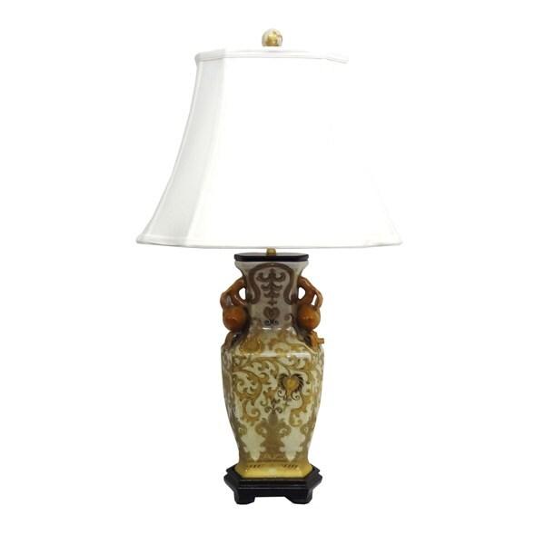 1-light Cream/ Gold Scrolls Porcelain Table Lamp
