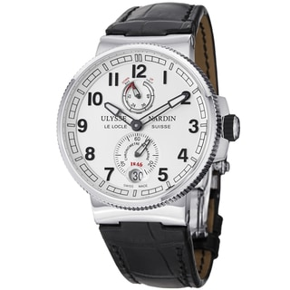 Ulysse Nardin Men's 1183-126/61 'MarineMaxiChrono' Silver Dial Black Leather Strap Watch