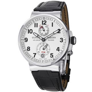 Ulysse Nardin Men's 1183-126/61 'MarineMaxiChrono' Silver Dial Black Leather Strap Watch|https://ak1.ostkcdn.com/images/products/8858747/Ulysse-Nardin-Mens-1183-126-61-MarineMaxiChrono-Silver-Dial-Black-Leather-Strap-Watch-P16086305.jpg?impolicy=medium