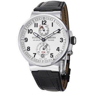Ulysse Nardin Men's 'MarineMaxiChrono' Silver Dial Black Leather Strap Watch
