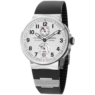 Ulysse Nardin Men's 1183-126-3/61 'MarineMaxiChrono' Silver Dial Black Rubber Strap Watch|https://ak1.ostkcdn.com/images/products/8858748/Ulysse-Nardin-Mens-1183-126-3-61-MarineMaxiChrono-Silver-Dial-Black-Rubber-Strap-Watch-P16086306.jpg?_ostk_perf_=percv&impolicy=medium