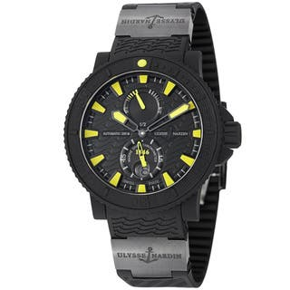 Ulysse Nardin Men's 263-92-3C/924 'Black Sea' Black/Yellow Dial Rubber Strap Watch|https://ak1.ostkcdn.com/images/products/8858786/Ulysse-Nardin-Mens-263-92-3C-924-Black-Sea-Black-Yellow-Dial-Rubber-Strap-Watch-P16086318.jpg?impolicy=medium