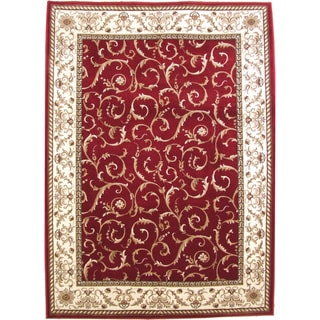 Admire Home Living Amalfi Scroll Red Oriental Area Rug (3'3 x 4'11) - 3'3 x 4'11