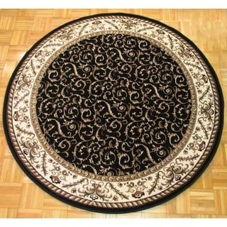 Admire Home Living Amalfi Black/ Ivory Scroll Round Area Rug (8') - 8' x 8'
