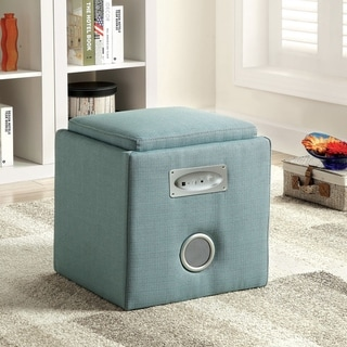 Furniture of America Cavelli Contemporary Solid Wood Storage Ottoman