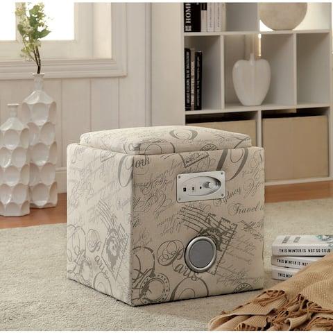 Furniture of America Cavelli Modern Blue Fabric Double-speaker Ottoman