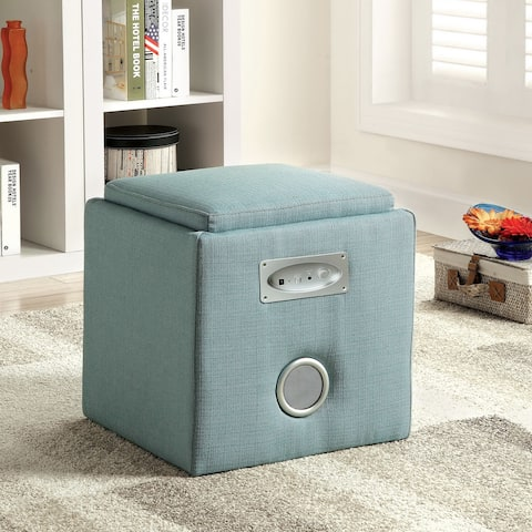 Aux Modern Pink Double-speaker Storage Ottoman by FOA